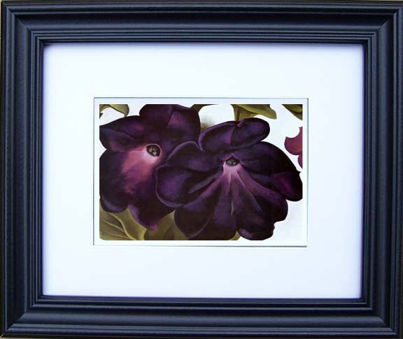 black and purple petunias by georgia okeeffe framed art prints
