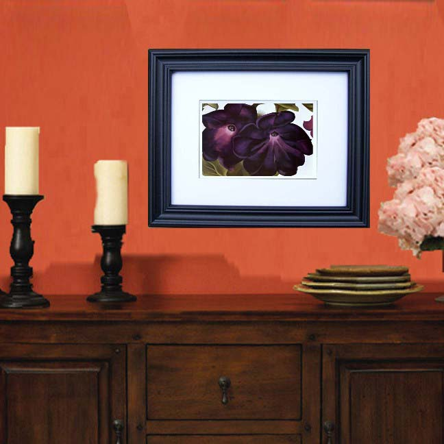 """Black and Purple Petunias"" by Georgia O'Keeffe Framed Art Prints"