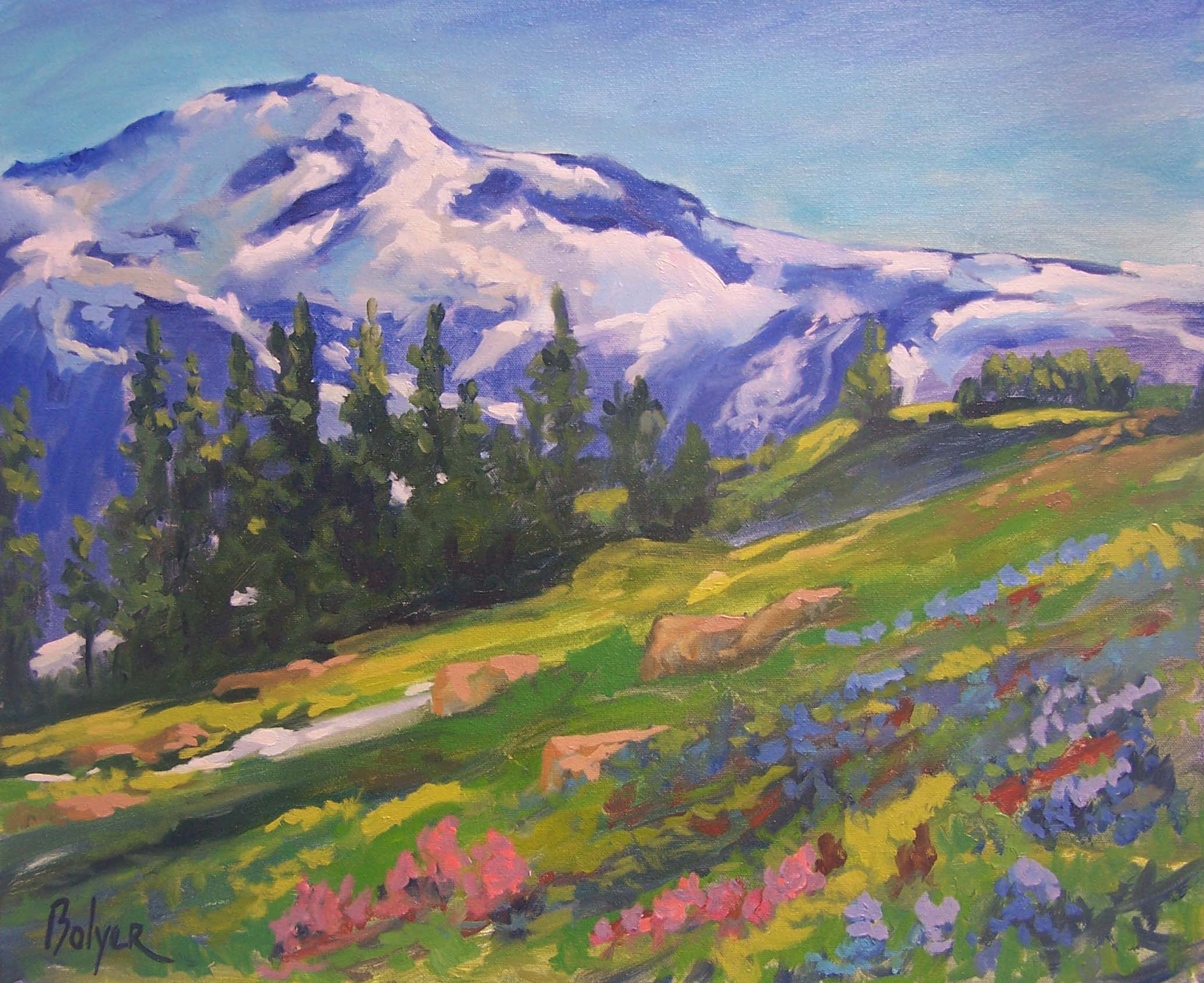 Museum quality giclee art print of Mount Rainier available